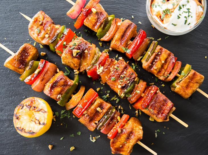 Moroccan Spiced Pork Kebabs with Pomegranate Glaze & Herby Yogurt Recipe