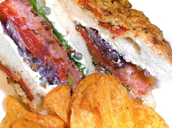 build your sammie: spread cream cheese mixture on all the halves of the bread....