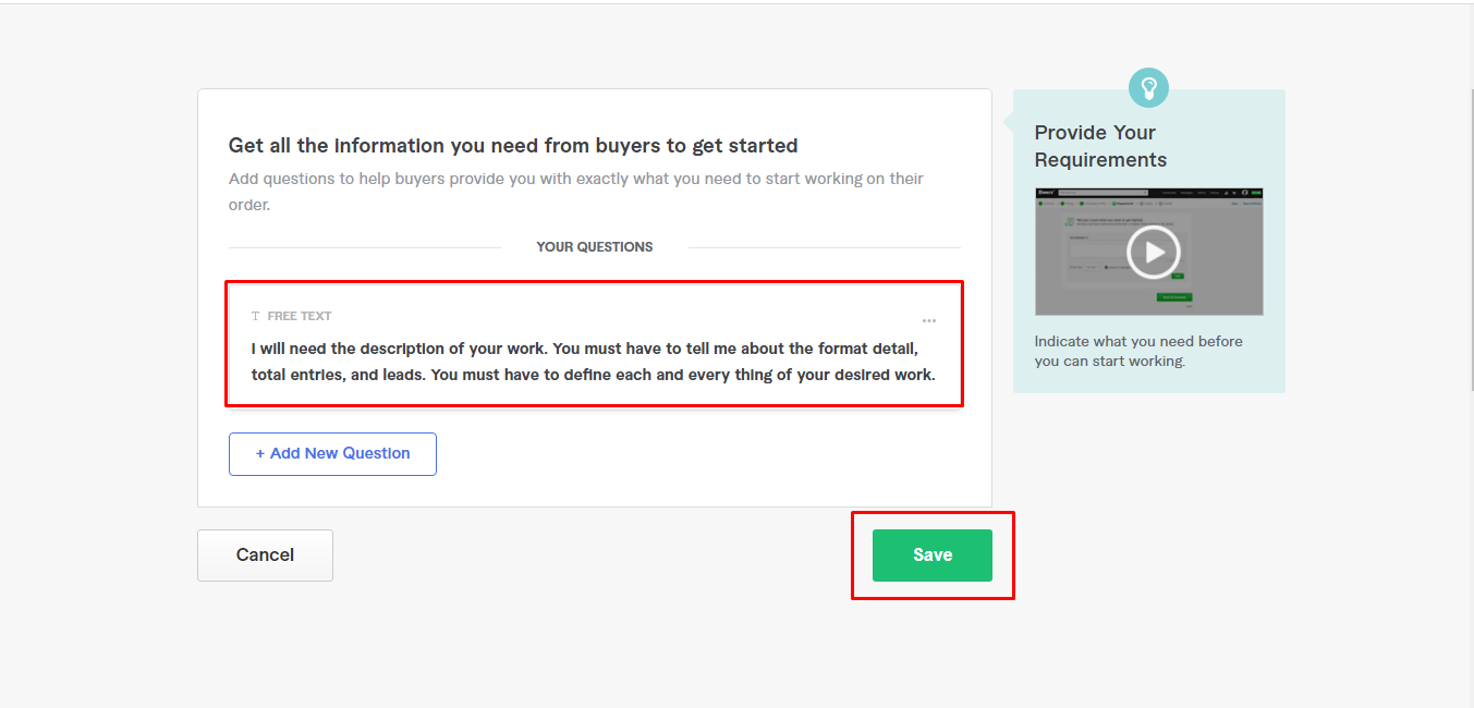 Screenshot of freelance writer creating requirements section for the services offered in a Fiverr gig