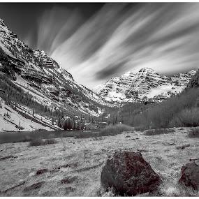 Spring blows in to the Rockies by George Kremer - Black & White Landscapes ( clouds, sage, b&w, black & white, rocky mountains, colorado, spring, mountains, sky, snow, long exposure, maroon bells, aspen colorado, rocks, peaks )
