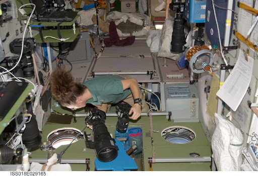 ISS Expedition 18 Sandra Magnus in Service Module (SM) with cameras