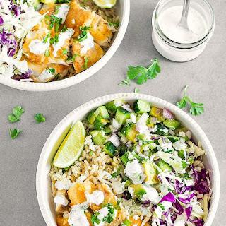 Fish Taco Bowls with Cilantro Lime Crema