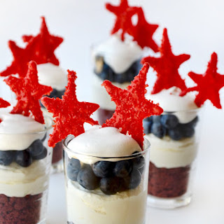 Red, White and Blue No-Bake Cheesecake Parfaits.