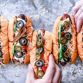 Gourmet Vegetarian Taco Hot Dogs.