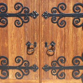 Architectural Detail of Wooden Doors by Tammy Venable - Buildings & Architecture Architectural Detail ( doors, detail, wooden, wrought iron, architecture )