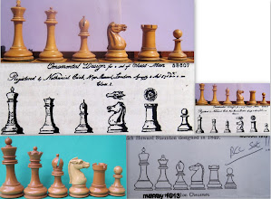 Photo: Illustration v real sets . the 1849 Jaques registered design compared with an Anderssen set 1855-65 and some 50 years later BCC make another version of their 1890's Staunton, and this illustration ends up in a number of 20th chess collector  century books as a refrence .
