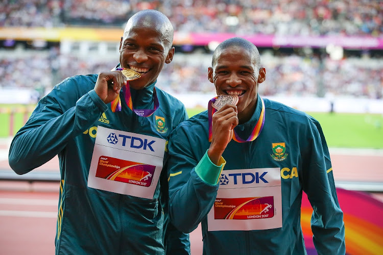 Dream escape: Luvo Manyonga and Ruswahl Samaai celebrate their medal-winning performances in London on Saturday night. Picture: GALLO IMAGES