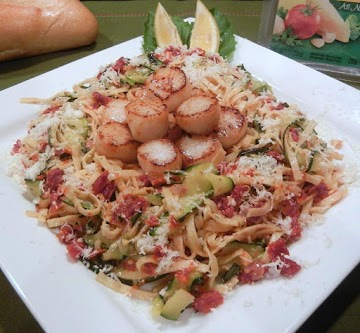 Scallops With Zucchini &sun-dried Tomato Linguine Recipe