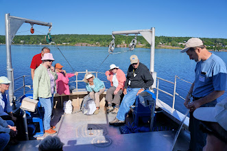 Photo: Field trip participants listen to environmental scientist Noel Urban explain the history, ecology, and environmental concerns of Torch Lake.