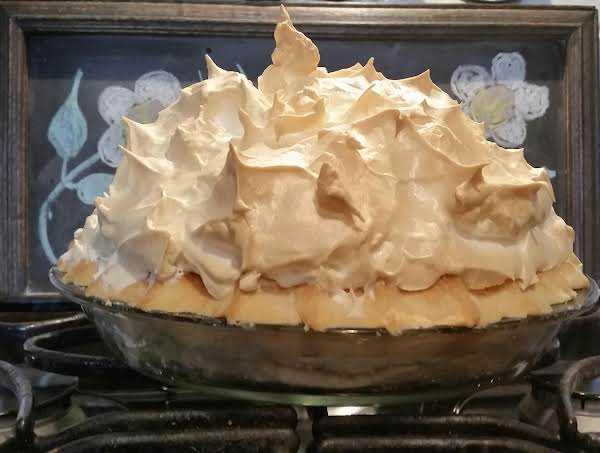 Suzee's Mile High Chocolate Cream Meringue Pie. Just Out Of The Oven! I Will Try And Post A Picture Once I Cut Into This Chocolate Yummy Pie!