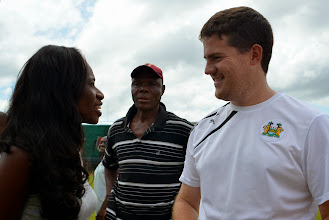 Photo: SLFA President Isha Johansen speaks with the Leone Stars and Head Coach Johnny McKinstry  [Leone Stars Training Camp, in advance of Equatorial Guinea game, Sept 2013 (Pic: Darren McKinstry)]
