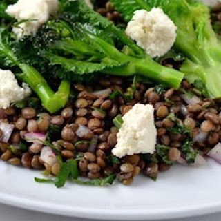 Purple Sprouting Broccoli & Puy Lentil Salad with Almond Feta & Mint.
