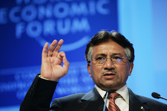 Photo: DAVOS/SWITZERLAND, 26JAN06 - Pervez Musharraf, President of Pakistan, gestures as he talks during the Special Address at the Annual Meeting 2006 of the World Economic Forum in Davos, Switzerland, January 26, 2006. 