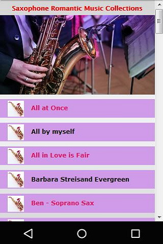 Screenshots of Saxophone Romantic Music for iPhone