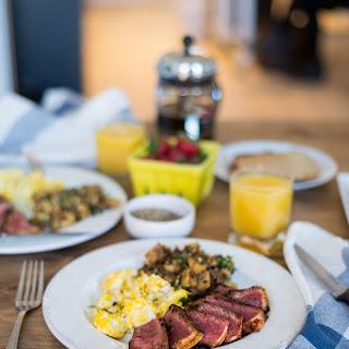 Harissa Steak + Eggs + Quinoa Tabbouleh Hash