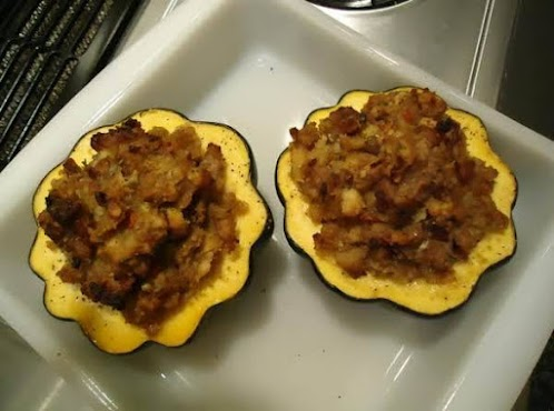 Click Here for Recipe: Norma's Stuffed Maple/Sausage Acorn Squash for Two