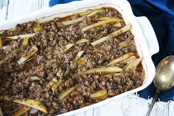 Hamburger Potato Casserole Ready To Be Served.