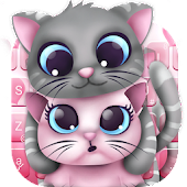 Pink Lovely Cartoon Cat Keyboard Theme Android APK Download Free By Love Cute Keyboard