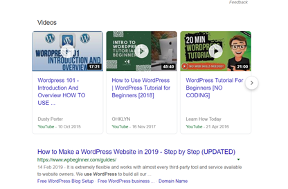 video and content marketing SERP example how to videos