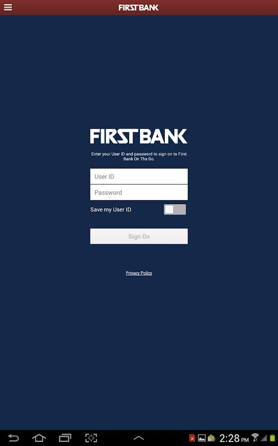 First Bank On The Go - Tablet- screenshot