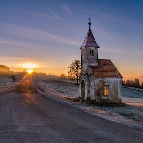 Coming over by Peter Zajfrid - Travel Locations Landmarks ( sky, sunset, chapel, sunrise, sun )