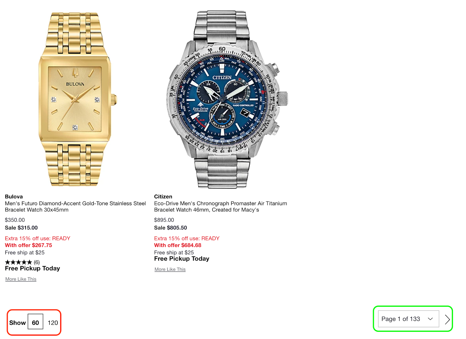 screenshot of inventory of watches from an online store with example of how pagination is used to filter, sort and abbreviate the amount of data pulled in with one API call.