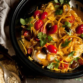 Moroccan Fish Tagine With Almond Couscous.