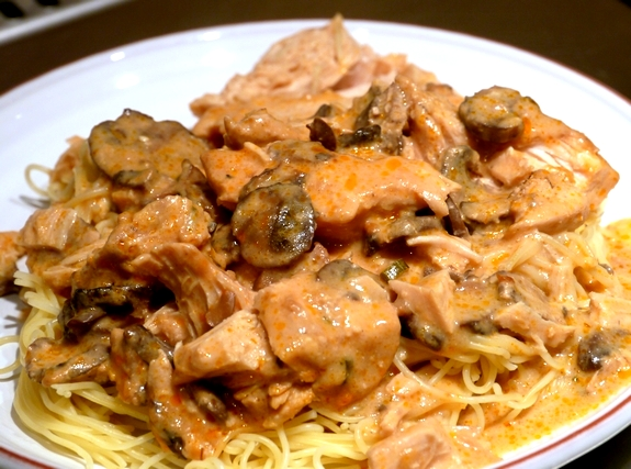 Slow Cooked Super Saucy Chicken Over Angel Hair Pasta Recipe