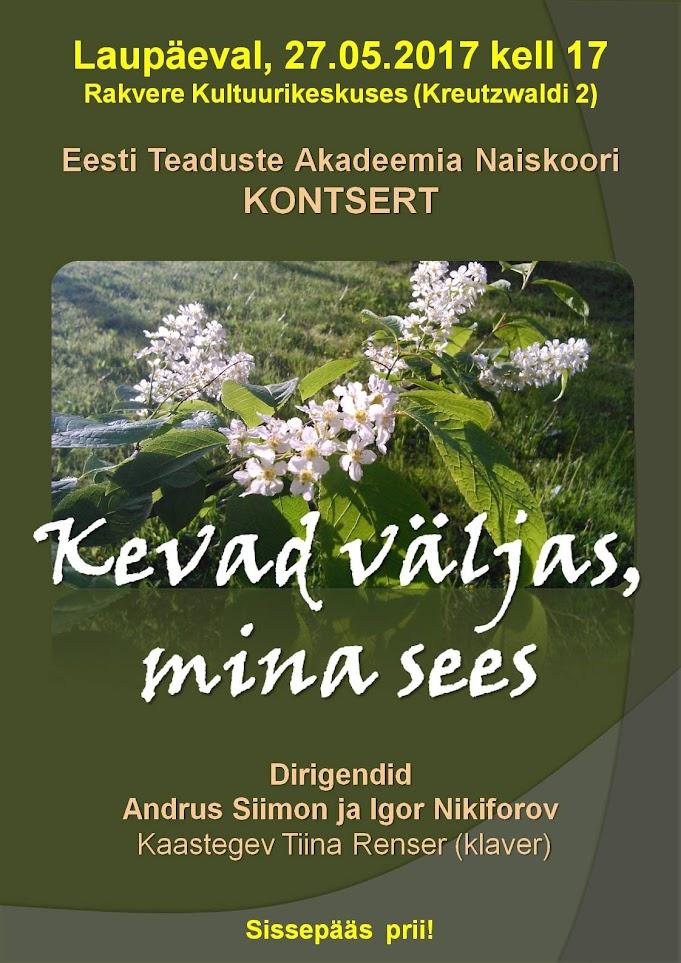 8fa701596ed Kontserdid - Eesti Teaduste Akadeemia Naiskoor