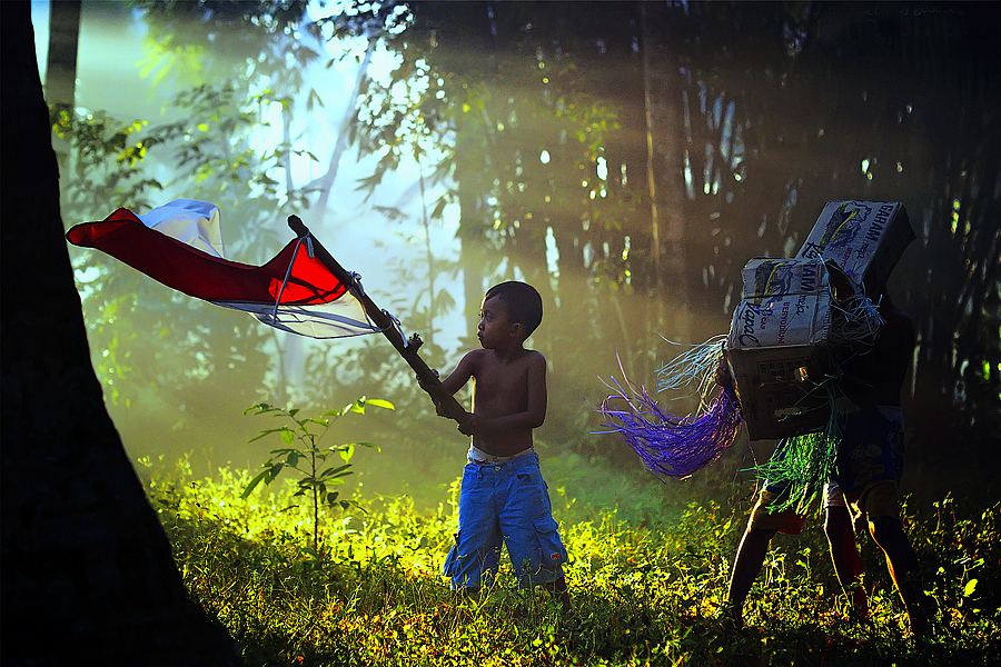 My Flag by Bli Gede Bagoes IGPWT - Babies & Children Children Candids