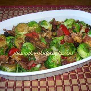 ROASTED BRUSSELS SPROUTS WITH BACON AND WALNUTS