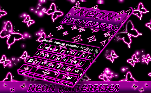 Neon Butterflies Keyboard screenshot 8