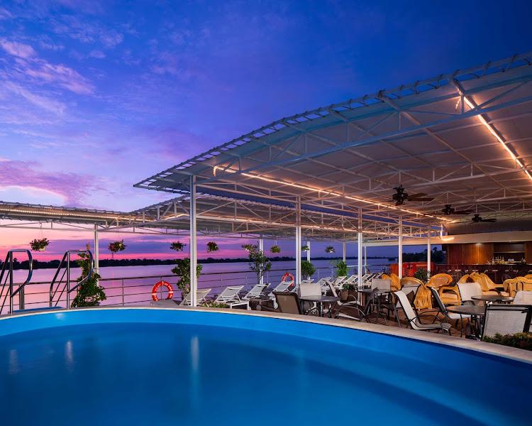 The pool deck aboard AmaDara, located on deck 3 forward.
