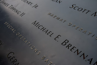 Photo: Got into New York before lunch and spent almost the entire day walking around (with some subway time in as well). Visited the 9-11 Memorial at the World Trade Center site. The surroundings are a bit of mess because of all the construction, but I think the memorial is quite nice. The sound of the two fountains is quite calming. I feel a little strange because I don't have a personal connection to the site. I visited the World Trade Center years ago, but I don't know anybody who was killed. Still, seeing all the names is quite an experience and really brings home the tragedy of the event.  This picture was shot with the D800 and has had almost no processing. I like the level of detail, even if it does show off fingerprints and such.