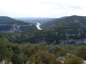 Photo: Here's the deceptively peaceful (at this height) Ardèche river, a tributary of the Rhône, and the source of the canyons.