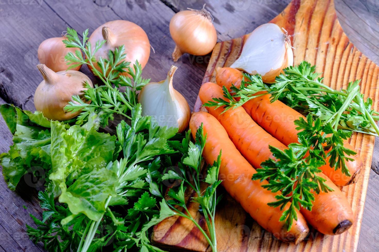 carrots and onion. Mixed healthy snacks
