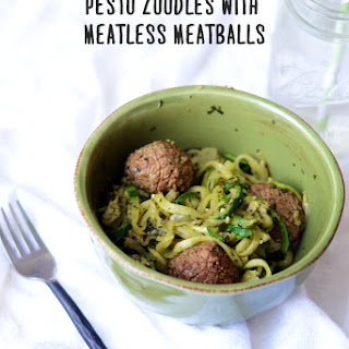 Pesto Zoodles with Meatless Meatballs.