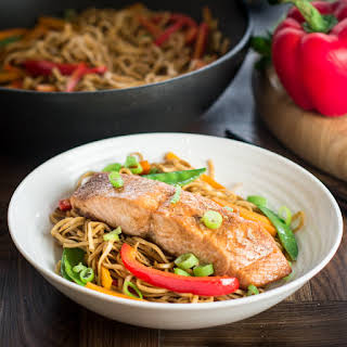 Soy and Sesame Salmon with Vegetable Chow Mein.