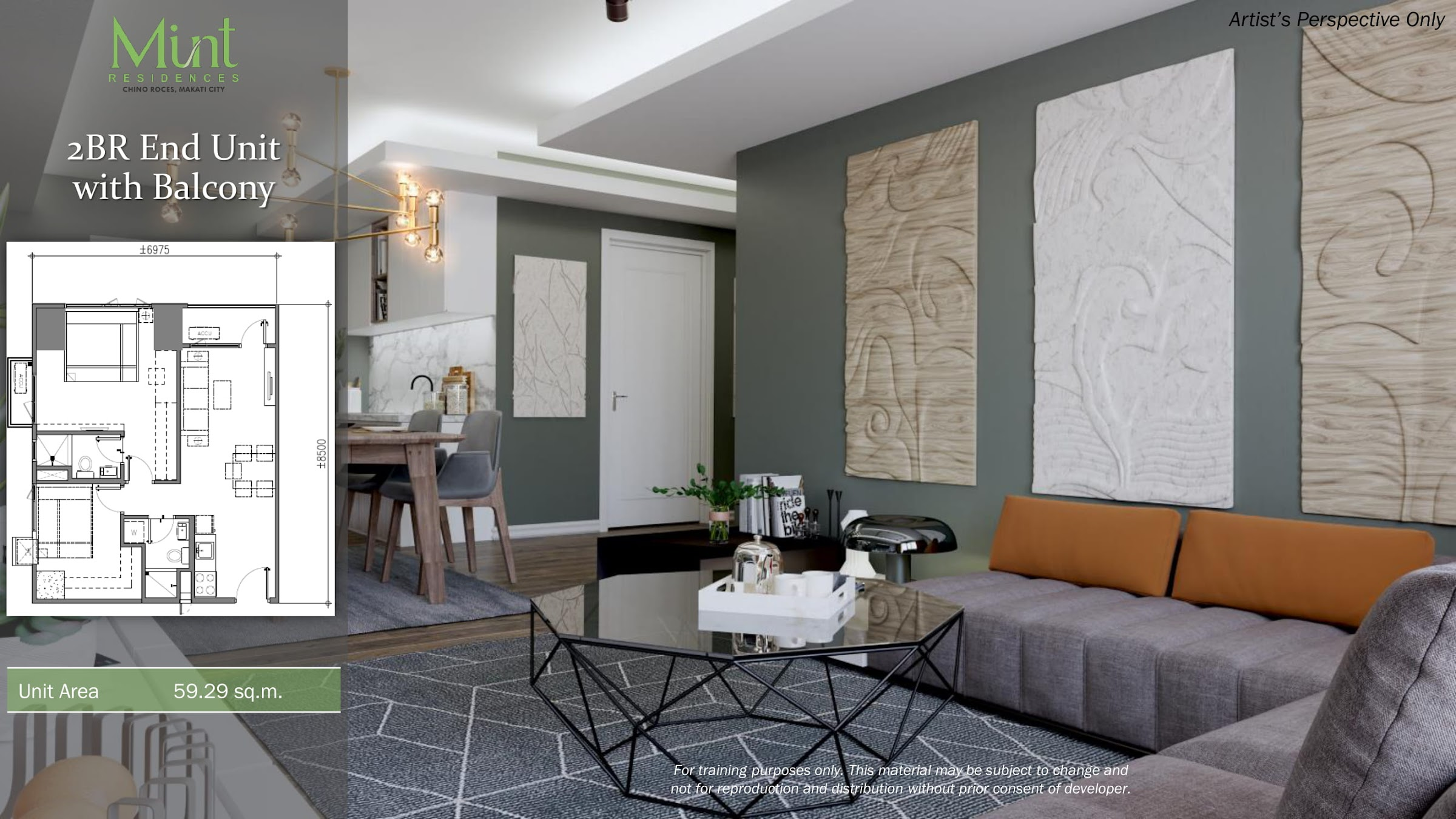 Mint Residences, Chino Roces Makati 2 bedroom end unit with balcony