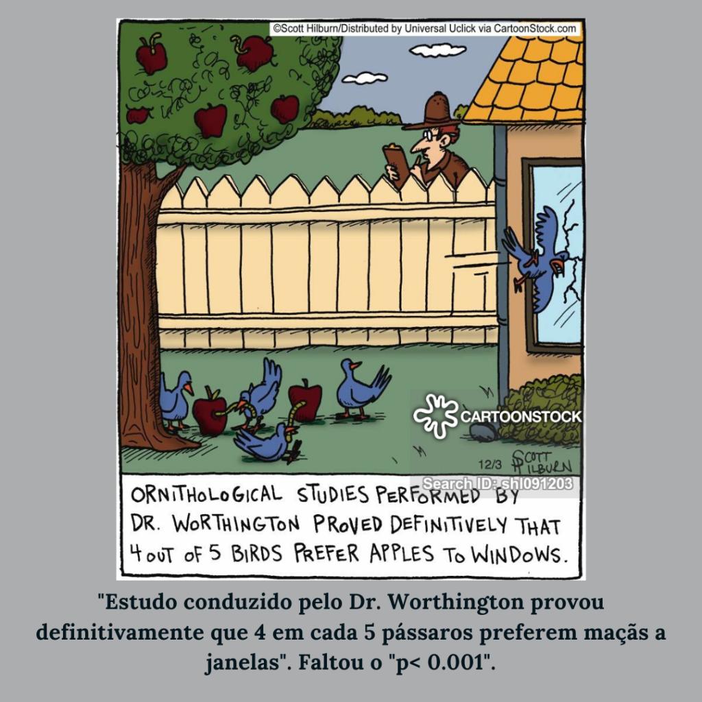 Tirinha: 4 a cada 5 pássaros preferem maçãs a janelas - CartoonStock