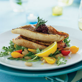 Red Snapper Fillets on Garlic Toasts with Arugula White-bean Salad.