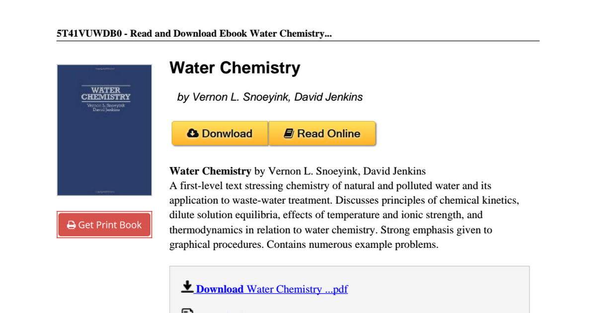 Snoeyink and jenkins water chemistry pdf