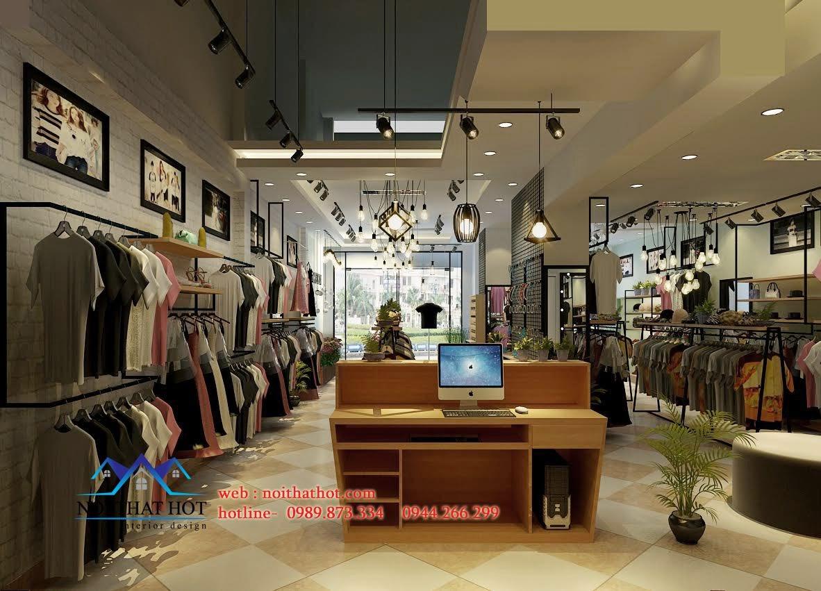 thiết kế shop thời trang nữ có hệ thông đèn xịn