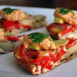 Red Pepper tortilla with Curry Feta Spread