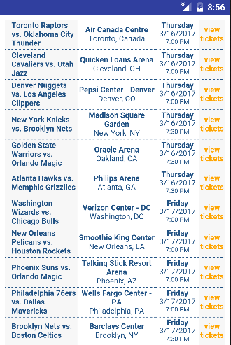 Tickets for NBA Games 1.0 screenshots 1