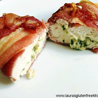 Bacon Wrapped Cheese and Pesto Stuffed Chicken.
