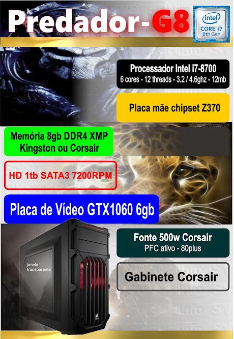CPU Computador i7-8700 - Predador-G8