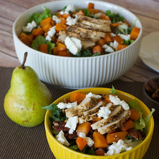 Roasted Butternut Squash and Pear Salad with Candied Pecans.
