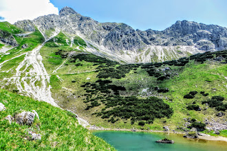 Photo: Gaisalptobel-Gaisalpseen 9 km + 800hm + 4h15 = L 36 Der obere Gaisalpsee mit Nebelhorn, Oberstdorf -  Wanderinfos: https://pagewizz.com/oberstdorf-wandern-gaisalptobel-gaisalpseen-32174/