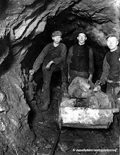 Photo: Kärrgruvan 1916, fr.v. Gustav Olsson, Sven Persson, Sven Wester